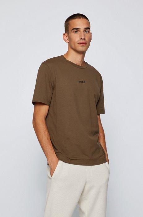 Relaxed-fit T-shirt van stretchkatoen met logoprint, Donkergroen