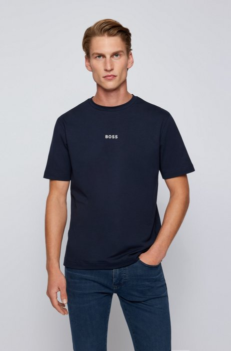 Relaxed-fit T-shirt in stretch cotton with logo print, Dark Blue