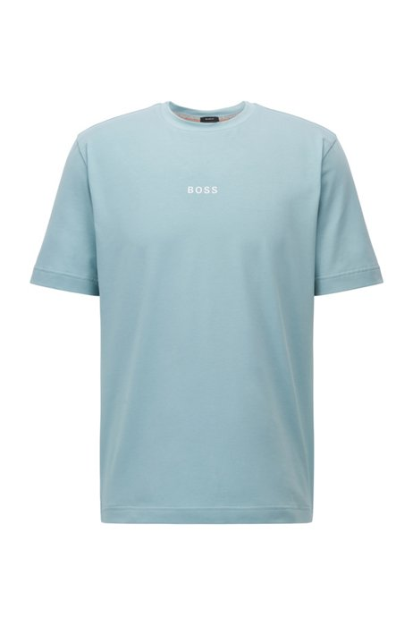 Relaxed-fit T-shirt in stretch cotton with logo print, Turquoise