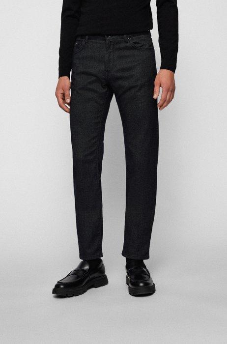 Regular-fit jeans in micro-structured stretch denim, Grey