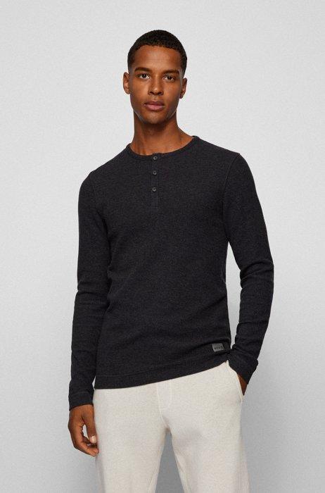 Slim-fit T-shirt met henley-hals van wafelkatoen, Zwart