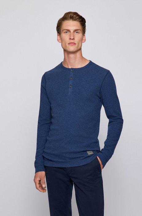 Henley-neck slim-fit T-shirt in waffle cotton, Dark Blue