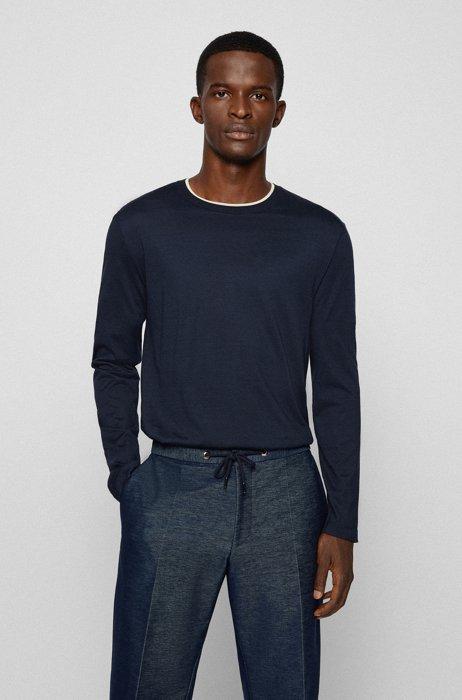 Maglione in cotone e seta con riga sul colletto, Blu scuro