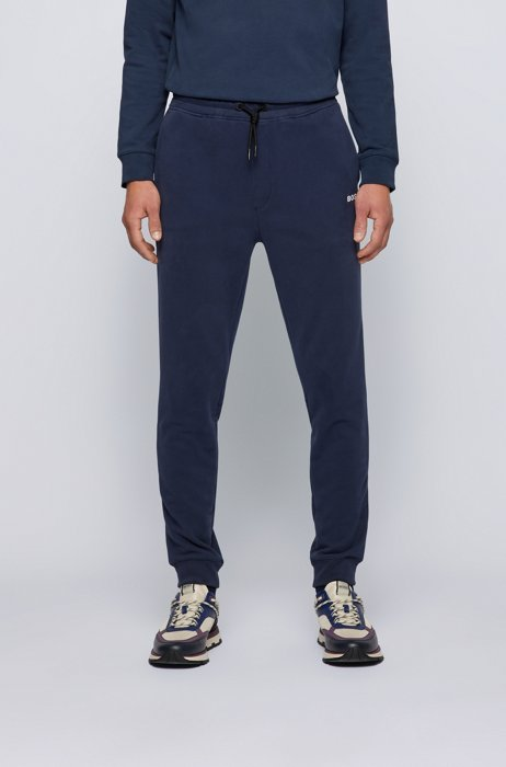 Cotton-blend tracksuit bottoms with logo detail, Dark Blue