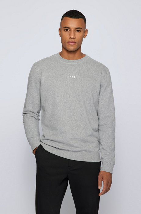 Relaxed-fit sweatshirt with chest logo, Light Grey