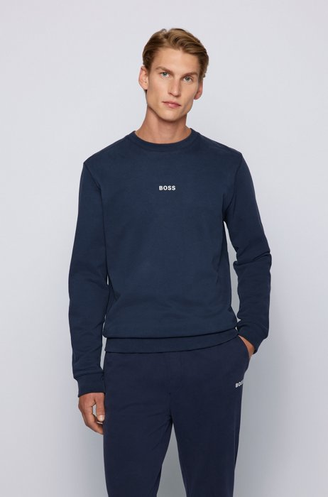 Relaxed-fit sweatshirt with chest logo, Dark Blue