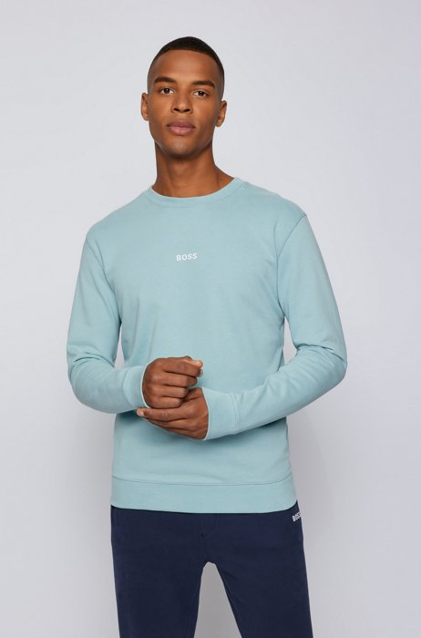 Relaxed-fit sweatshirt with chest logo, Turquoise