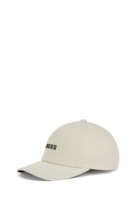 Cotton-twill cap with raised logo, White