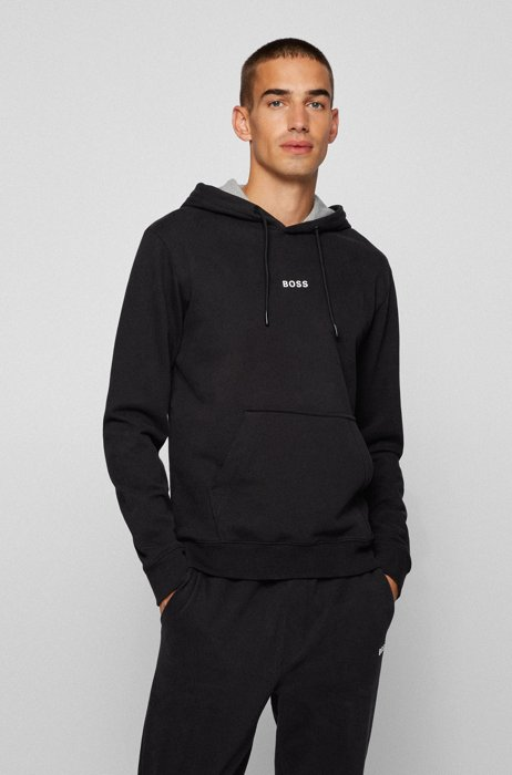 Relaxed-fit hooded sweatshirt with logo detailing, Black