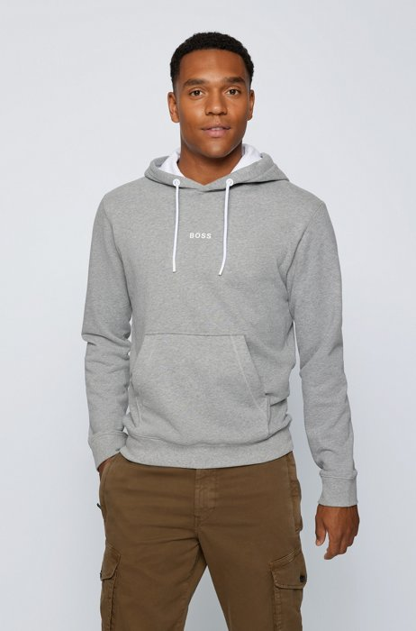 Relaxed-fit hooded sweatshirt with logo detailing, Light Grey