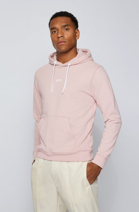 Relaxed-fit hooded sweatshirt with logo detailing, light pink