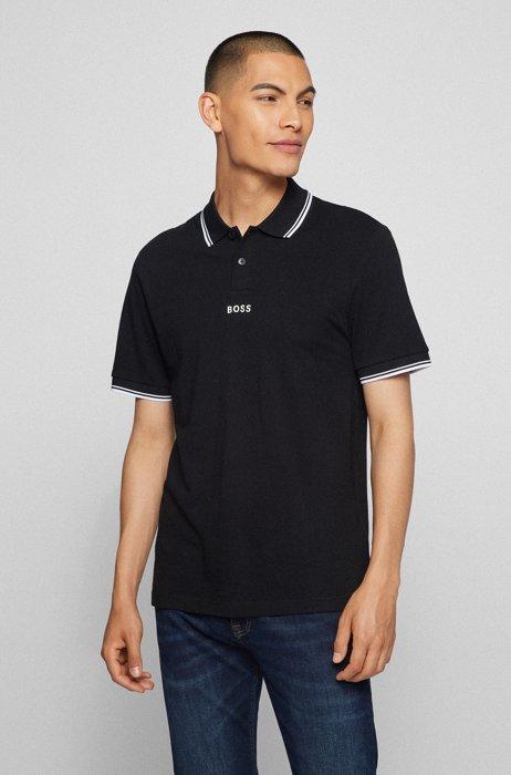 Regular-fit polo shirt in cotton piqué, Black