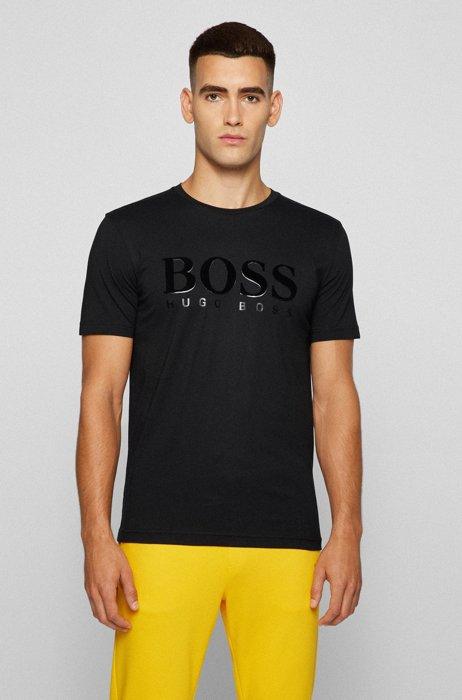 Camiseta regular fit de algodón con logotipo de estampado mixto, Negro
