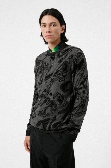 Regular-fit sweater with jacquard-knitted glitch pattern, Dark Grey