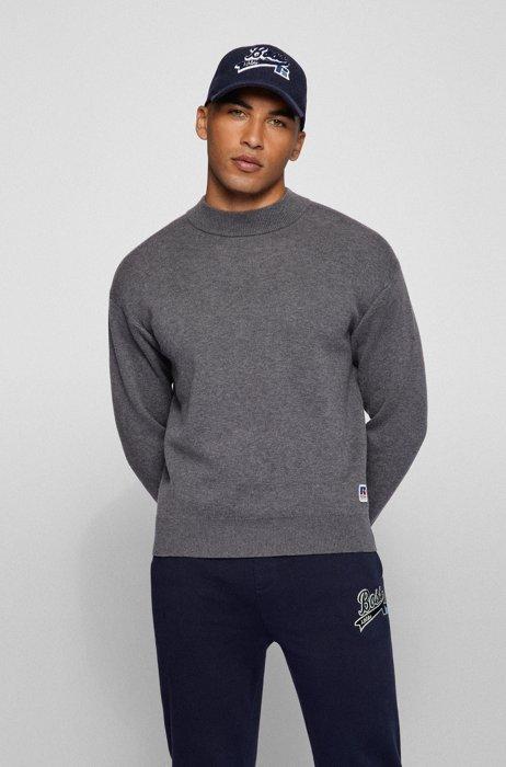 Pullover aus Baumwoll-Mix mit Stehkragen und exklusivem Logo, Grau
