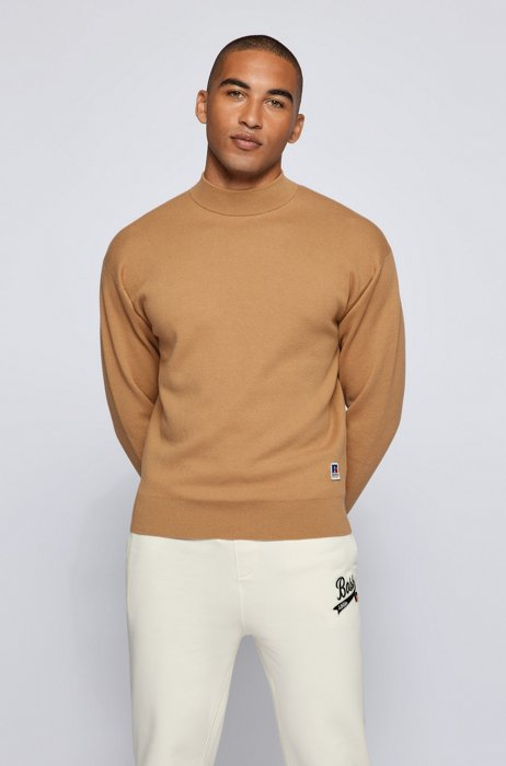 Mock-neck sweater in wool-cotton with exclusive logo, Beige