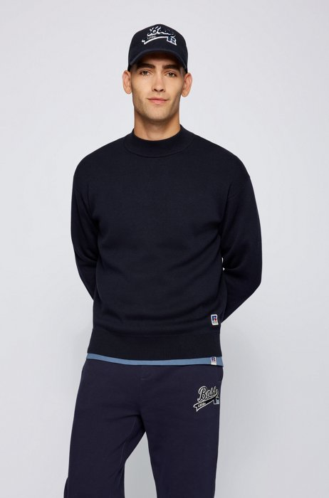 Mock-neck sweater in wool-cotton with exclusive logo, Dark Blue
