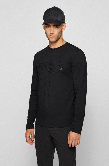 Longsleeve aus Stretch-Baumwolle mit Metallic-Logo, Schwarz