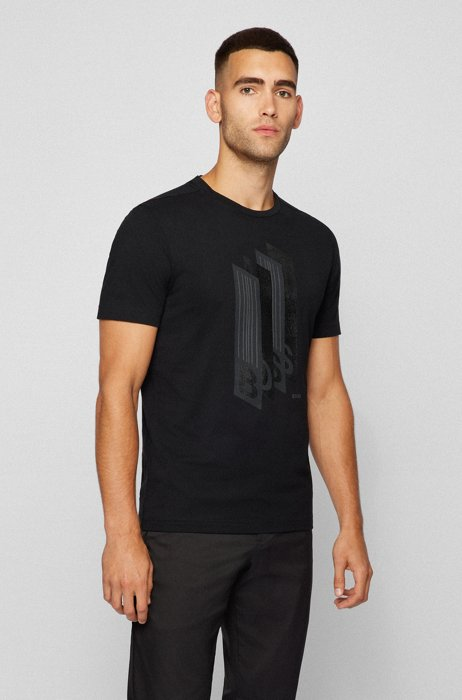 Cotton-jersey regular-fit T-shirt with logo artwork, Black