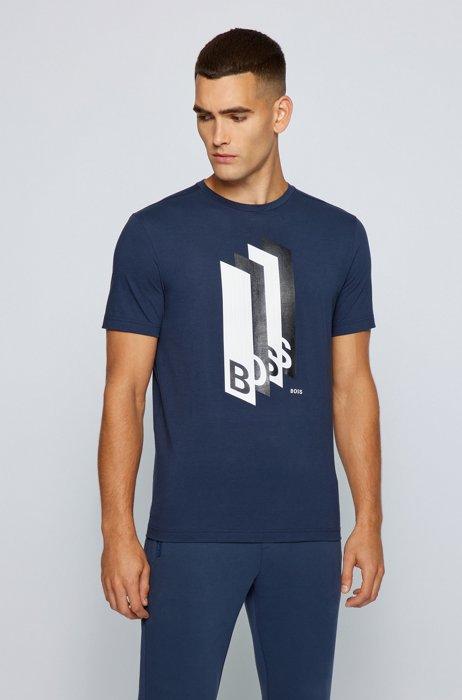 Cotton-jersey regular-fit T-shirt with logo artwork, Dark Blue