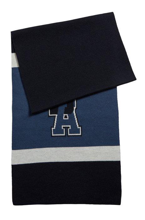 Tubular-knit striped scarf with exclusive logo, Dark Blue