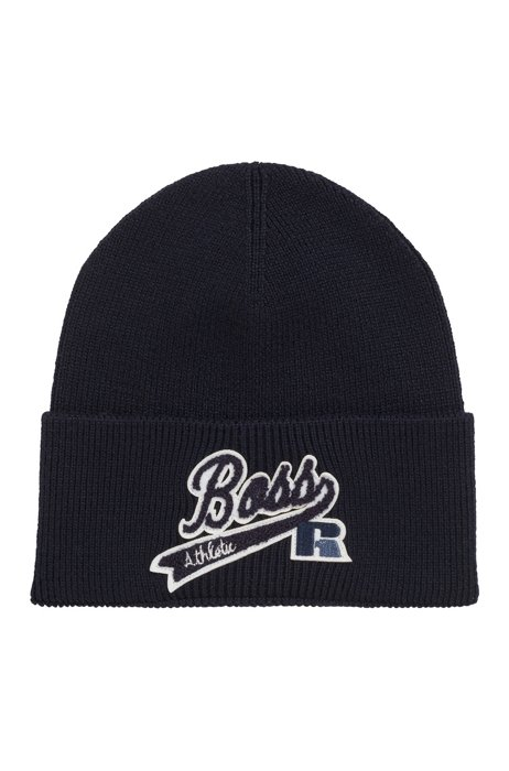 Ribbed beanie hat with exclusive logo, Dark Blue