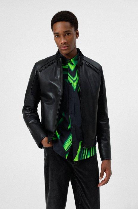 Slim-fit jas van geolied leer, Zwart