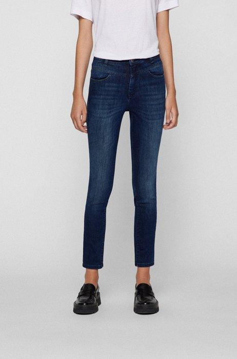 Skinny-fit jeans in dark-blue super-stretch denim, Dark Blue