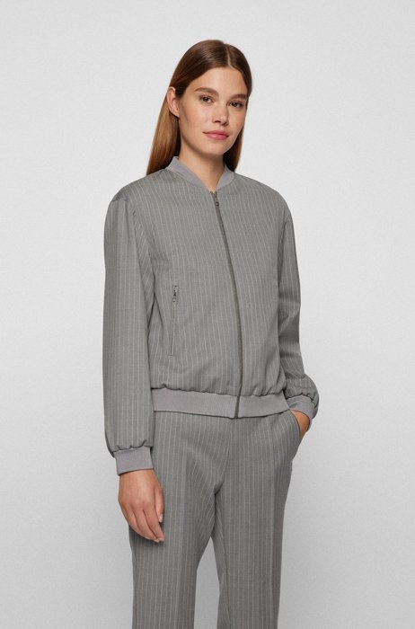 Zip-up relaxed-fit jacket in pinstripe stretch wool, Grey