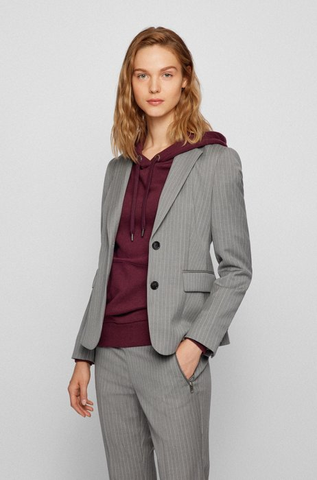 Pinstripe regular-fit jacket in a stretch-wool blend, Grey