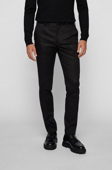 Slim-Fit Hose aus Stretch-Gabardine, Schwarz