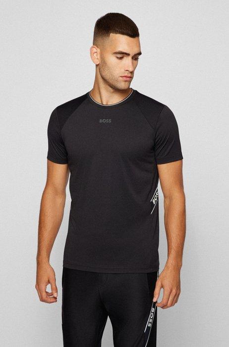 Slim-Fit T-Shirt aus recyceltem Jersey mit Logo-Details, Schwarz