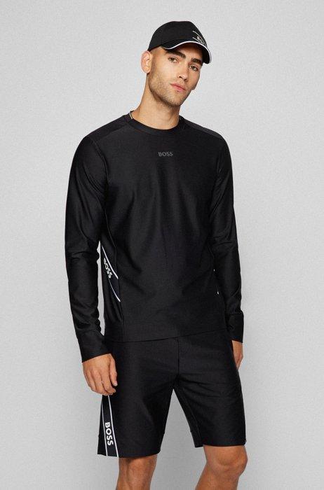 Slim-fit sweater met inzetstukken van logoband, Zwart