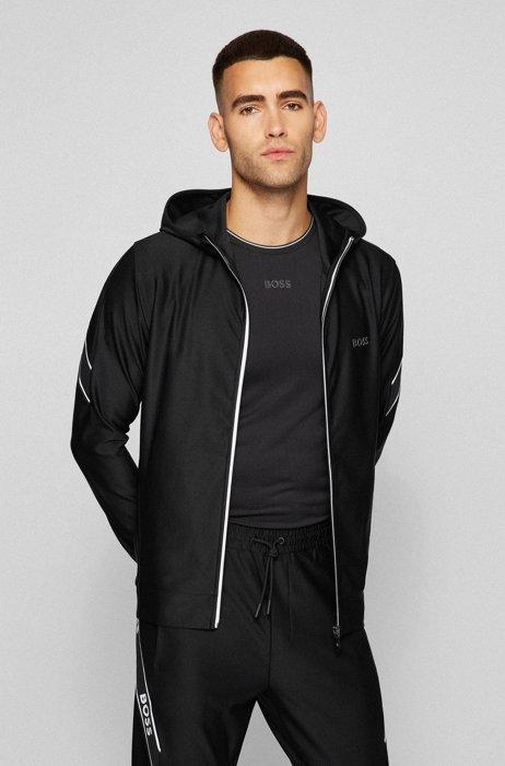 Sudadera con capucha slim fit con cremallera y cinta con logo, Negro