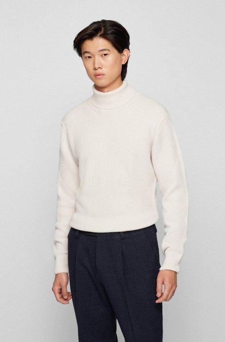 Maglione a collo alto in lana merino a coste, Bianco