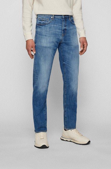 Tapered-fit jeans in dark-blue comfort-stretch denim, Blue