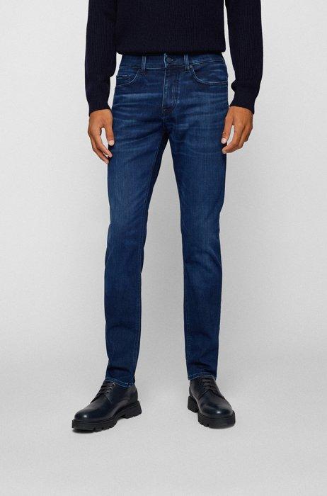 Slim-fit jeans in dark-blue brushed denim, Dark Blue
