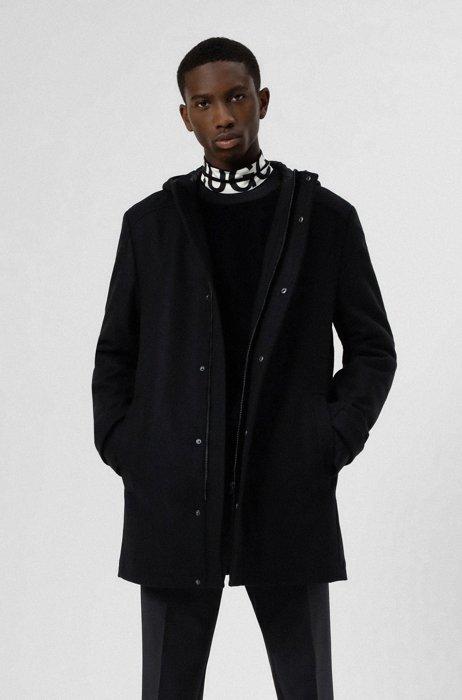Slim-fit hooded coat in a virgin-wool blend, Black