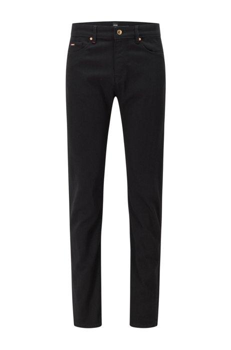 Jeans slim fit in comodo denim elasticizzato italiano nero, Nero
