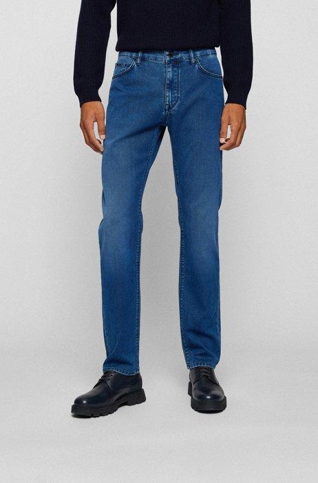 Vaqueros regular fit en denim elástico azul oscuro de gran confort, Azul oscuro
