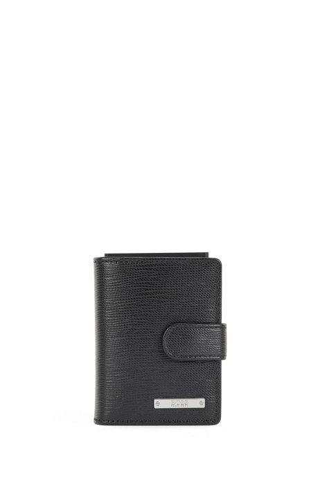Card holder in Italian leather with logo plaque, Black