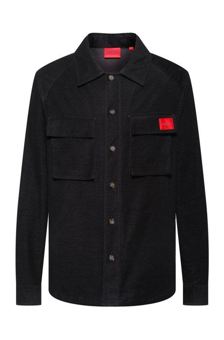 Chemise Oversized Fit en moleskine avec étiquette logo rouge, Noir
