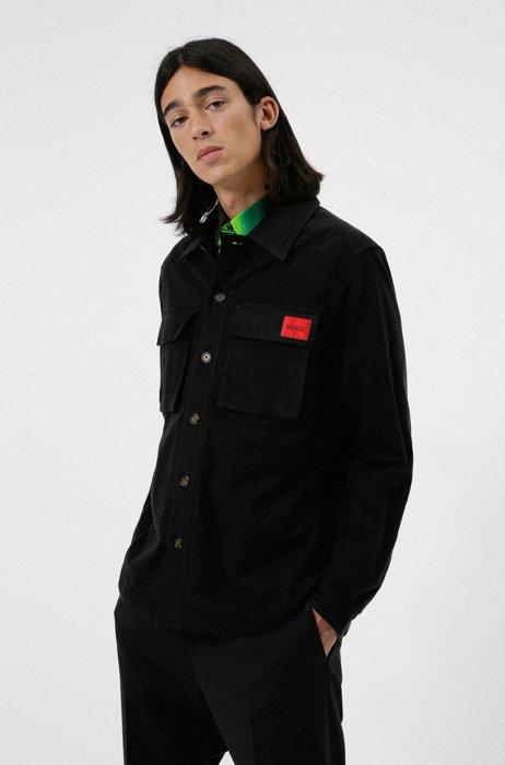 Camicia oversize in moleskin con etichetta con logo rossa, Nero