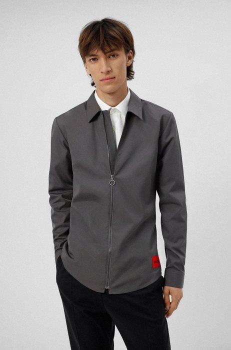 Chemise Extra Slim Fit en coton avec étiquette logo rouge, Gris sombre