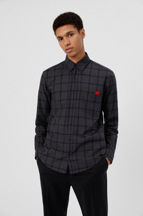 Checked slim-fit shirt with red logo label, Black