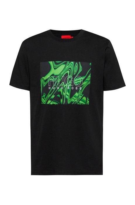T-shirt a girocollo in cotone con stampa effetto deformato, Nero