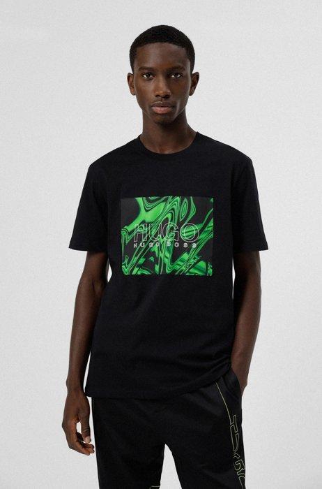 T-shirt van katoen met ronde hals en glitch-print, Zwart