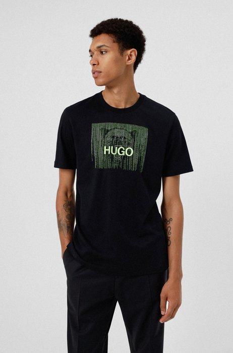 T-Shirt aus Baumwolle mit Glow-in-the-Dark-Logo, Schwarz