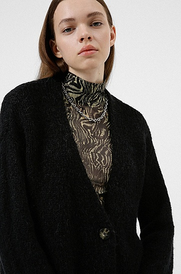 V 领宽松针织开衫,  001_Black