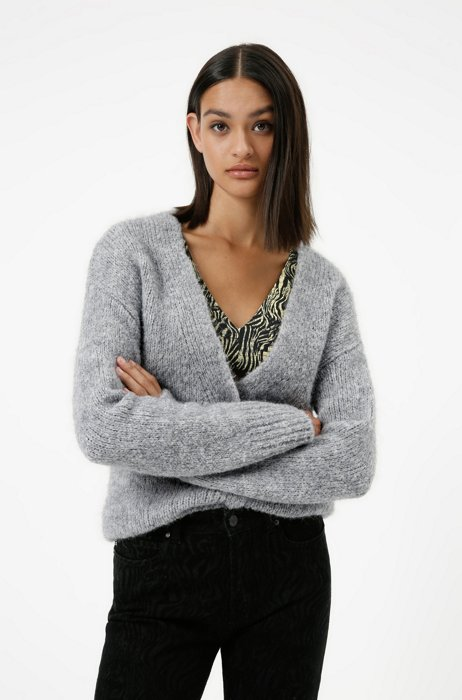 Relaxed-fit knitted cardigan with V neckline, Grey